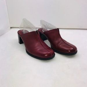 Clark's Red Leather Mules